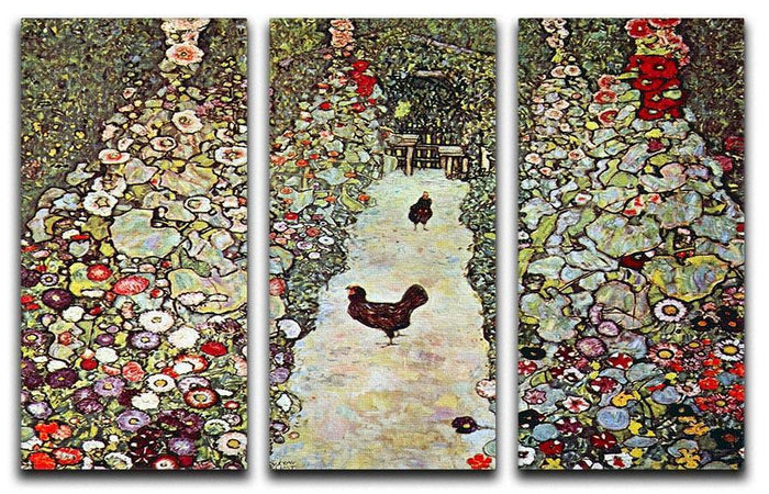 Garden Path with Chickens by Klimt 3 Split Panel Canvas Print