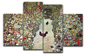 Garden Path with Chickens by Klimt 4 Split Panel Canvas  - Canvas Art Rocks - 1