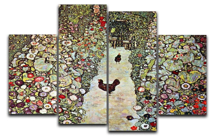 Garden Path with Chickens by Klimt 4 Split Panel Canvas