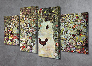 Garden Path with Chickens by Klimt 4 Split Panel Canvas - Canvas Art Rocks - 2