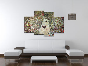 Garden Path with Chickens by Klimt 4 Split Panel Canvas - Canvas Art Rocks - 3