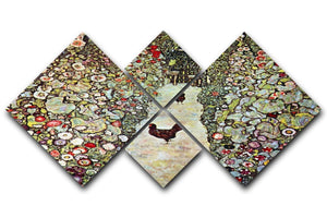 Garden Path with Chickens by Klimt 4 Square Multi Panel Canvas  - Canvas Art Rocks - 1