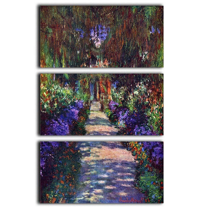 Garden at Giverny by Monet 3 Split Panel Canvas Print