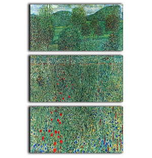 Garden landscape by Klimt 3 Split Panel Canvas Print - Canvas Art Rocks - 1