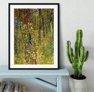 Garden with crucifix by Klimt Framed Print - Canvas Art Rocks - 1