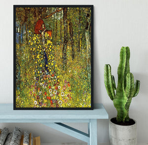 Garden with crucifix by Klimt Framed Print - Canvas Art Rocks - 2