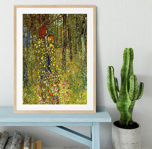 Garden with crucifix by Klimt Framed Print - Canvas Art Rocks - 3