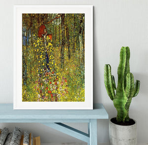 Garden with crucifix by Klimt Framed Print - Canvas Art Rocks - 5