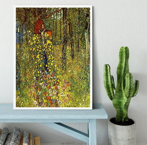 Garden with crucifix by Klimt Framed Print - Canvas Art Rocks -6