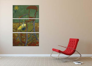 Gauguins chair by Van Gogh 3 Split Panel Canvas Print - Canvas Art Rocks - 2