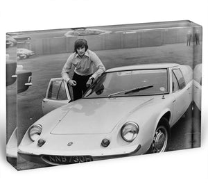 George Best with his Lotus Europa Acrylic Block - Canvas Art Rocks - 1