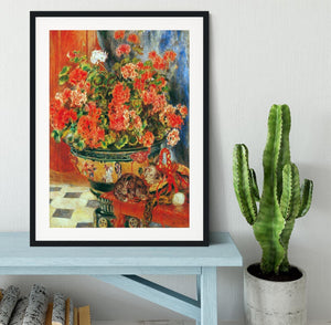 Geraniums and cats by Renoir Framed Print - Canvas Art Rocks - 1