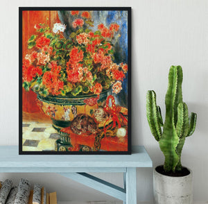 Geraniums and cats by Renoir Framed Print - Canvas Art Rocks - 2