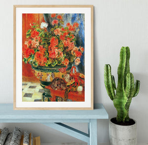 Geraniums and cats by Renoir Framed Print - Canvas Art Rocks - 3