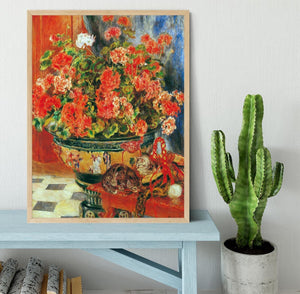 Geraniums and cats by Renoir Framed Print - Canvas Art Rocks - 4