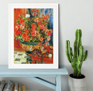 Geraniums and cats by Renoir Framed Print - Canvas Art Rocks - 5