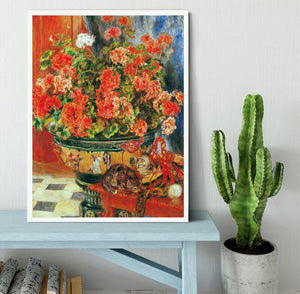 Geraniums and cats by Renoir Framed Print - Canvas Art Rocks -6
