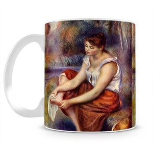 Girl dryes her feet by Renoir Mug - Canvas Art Rocks - 2