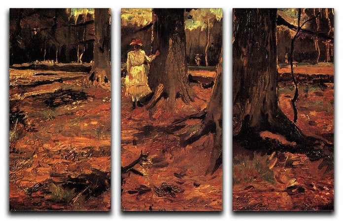 Girl in White in the Woods by Van Gogh 3 Split Panel Canvas Print