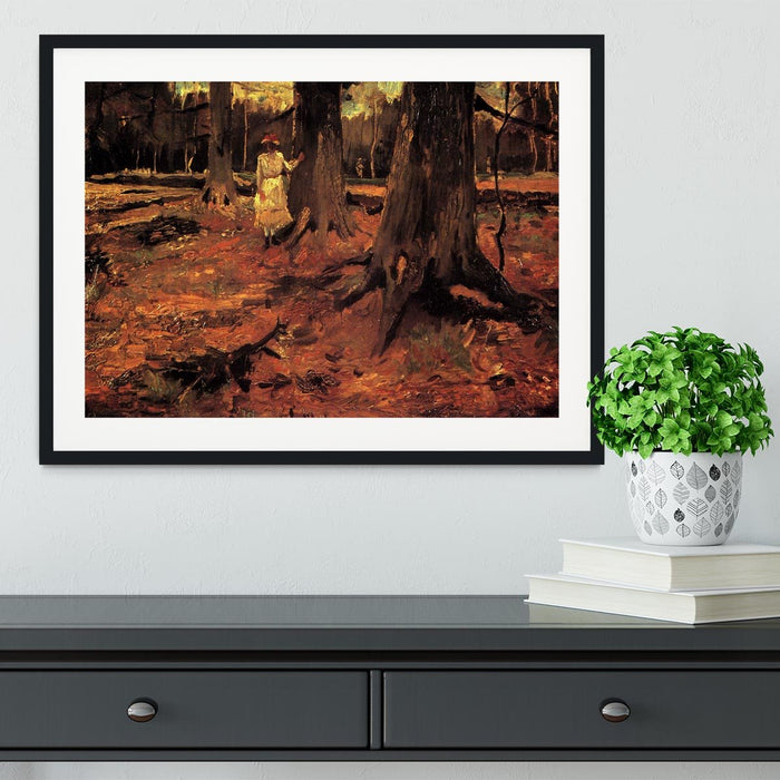 Girl in White in the Woods by Van Gogh Framed Print