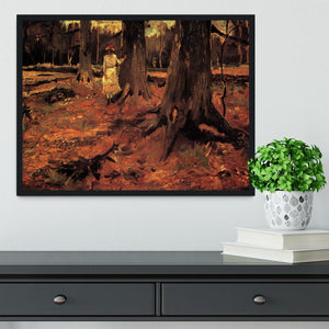 Girl in White in the Woods by Van Gogh Framed Print - Canvas Art Rocks - 2