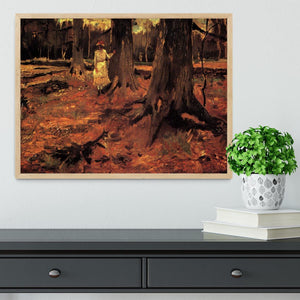 Girl in White in the Woods by Van Gogh Framed Print - Canvas Art Rocks - 4