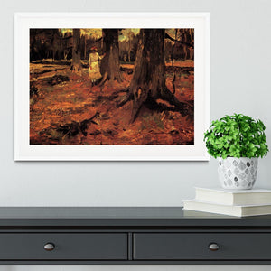 Girl in White in the Woods by Van Gogh Framed Print - Canvas Art Rocks - 5