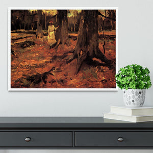Girl in White in the Woods by Van Gogh Framed Print - Canvas Art Rocks -6