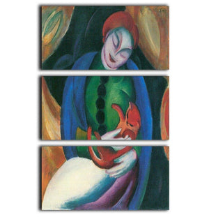 Girl with a Cat II by Franz Marc 3 Split Panel Canvas Print - Canvas Art Rocks - 1