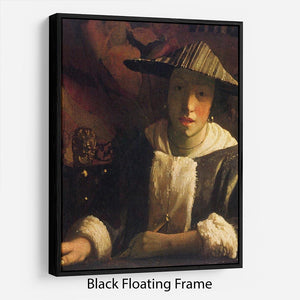 Girl with a flute by Vermeer Floating Frame Canvas - Canvas Art Rocks - 1