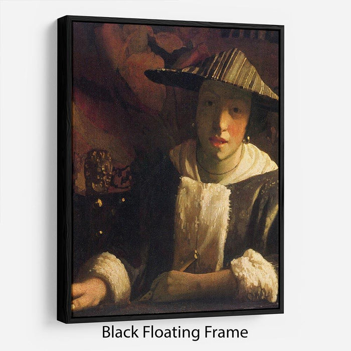 Girl with a flute by Vermeer Floating Frame Canvas