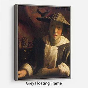 Girl with a flute by Vermeer Floating Frame Canvas - Canvas Art Rocks - 3