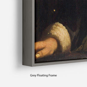 Girl with a flute by Vermeer Floating Frame Canvas - Canvas Art Rocks - 4