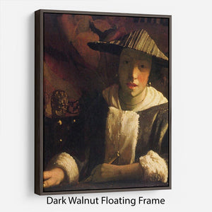Girl with a flute by Vermeer Floating Frame Canvas - Canvas Art Rocks - 5