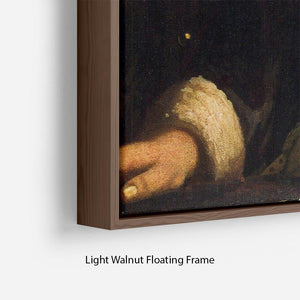 Girl with a flute by Vermeer Floating Frame Canvas - Canvas Art Rocks - 8