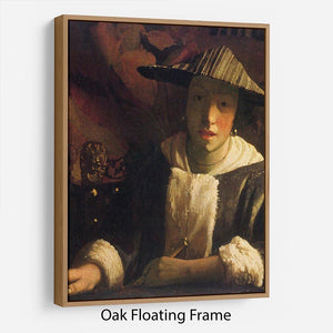 Girl with a flute by Vermeer Floating Frame Canvas - Canvas Art Rocks - 9