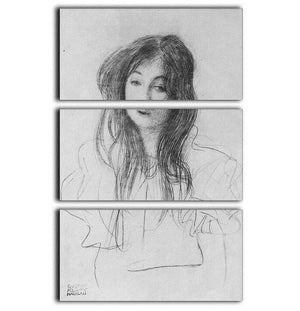 Girl with long hair by Klimt 3 Split Panel Canvas Print - Canvas Art Rocks - 1