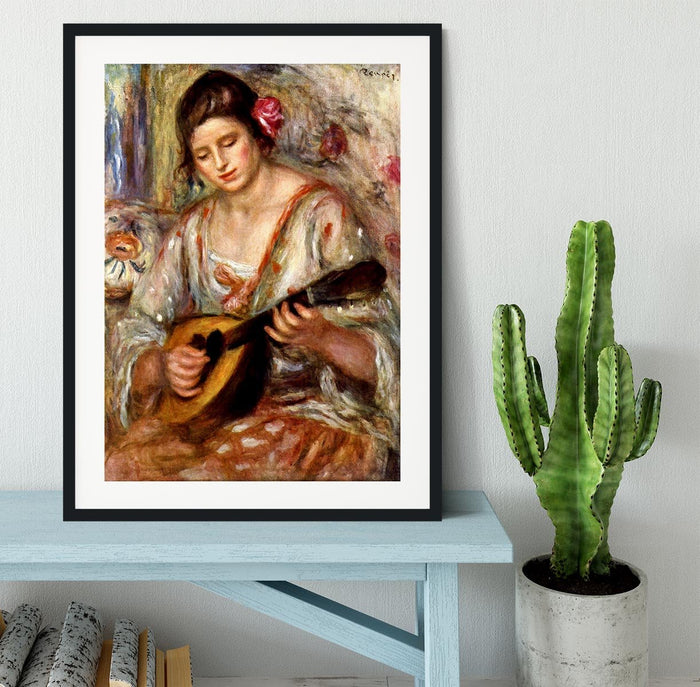 Girl with mandolin by Renoir Framed Print