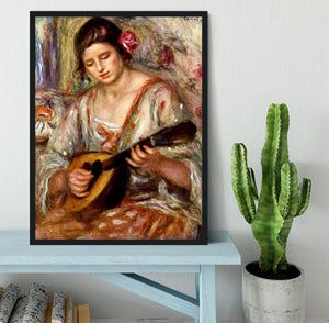 Girl with mandolin by Renoir Framed Print - Canvas Art Rocks - 2