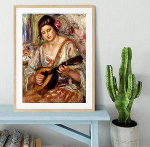 Girl with mandolin by Renoir Framed Print - Canvas Art Rocks - 3