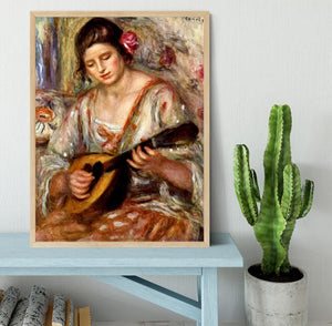 Girl with mandolin by Renoir Framed Print - Canvas Art Rocks - 4