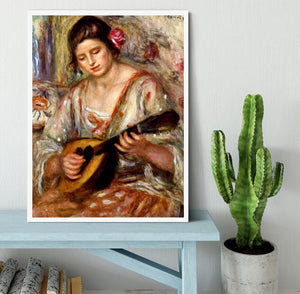 Girl with mandolin by Renoir Framed Print - Canvas Art Rocks -6