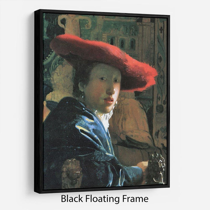 Girl with red hat by Vermeer Floating Frame Canvas