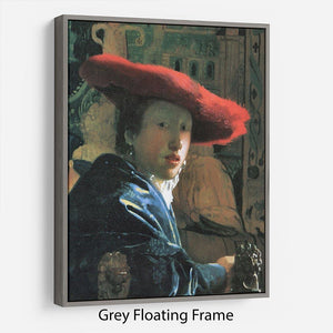 Girl with red hat by Vermeer Floating Frame Canvas - Canvas Art Rocks - 3