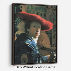 Girl with red hat by Vermeer Floating Frame Canvas - Canvas Art Rocks - 5