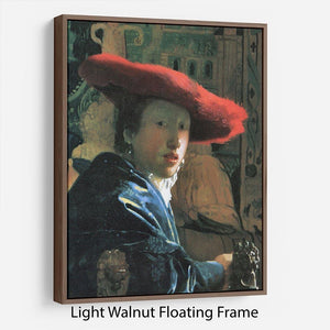 Girl with red hat by Vermeer Floating Frame Canvas - Canvas Art Rocks 7