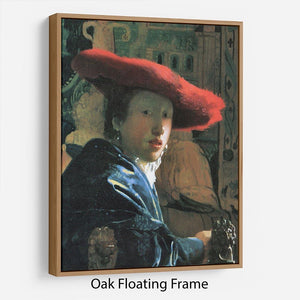 Girl with red hat by Vermeer Floating Frame Canvas - Canvas Art Rocks - 9