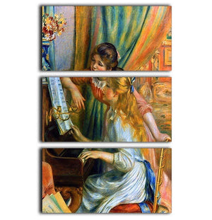 Girls at the Piano by Renoir 3 Split Panel Canvas Print - Canvas Art Rocks - 1