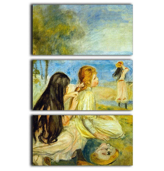 Girls by the Seaside by Renoir 3 Split Panel Canvas Print