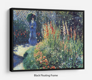 Gladiolas by Monet Floating Frame Canvas